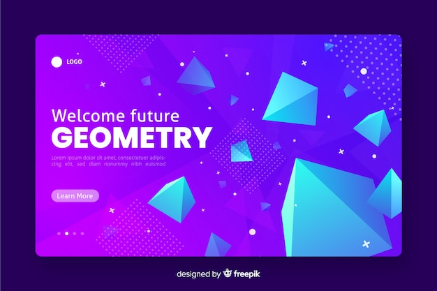 Geometrische landingpage 3d mit pyramiden Kostenlosen Vektoren