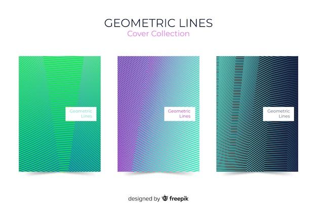 Geometrische linien decken sammlung Kostenlosen Vektoren
