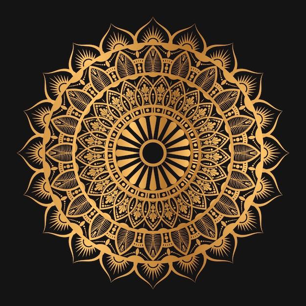 Geometrische mandala in goldener farbe Premium Vektoren