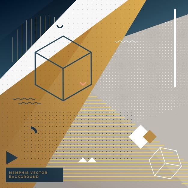 Geometrische memphis hintergrund mit abstrakten formen Kostenlosen Vektoren