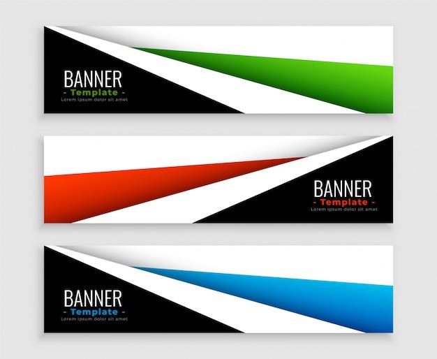 Geometrische moderne web-banner satz von drei Kostenlosen Vektoren