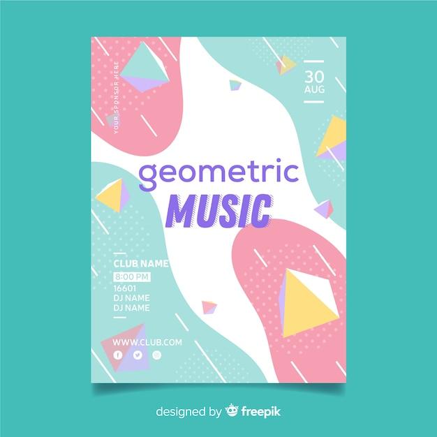 Geometrische musikplakatschablone Kostenlosen Vektoren