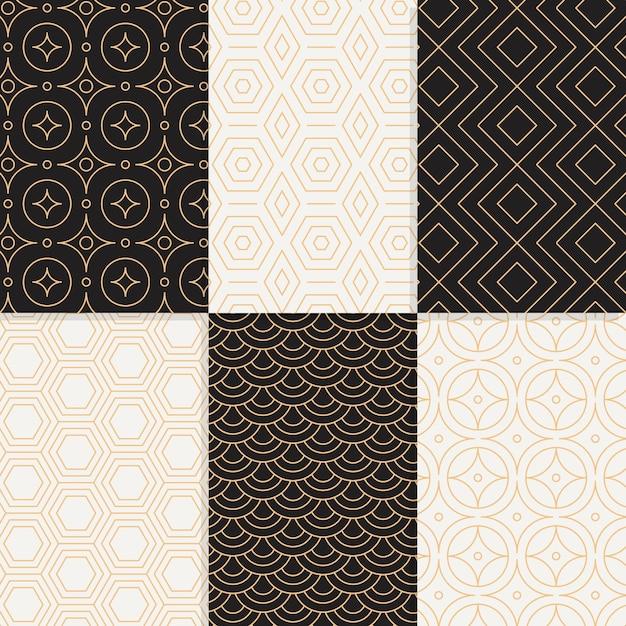 Geometrische mustersammlung mit minimalem design Premium Vektoren