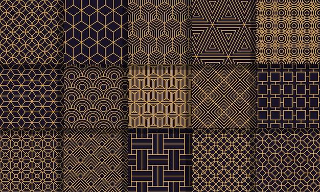 Geometrische nahtlose muster. gestreifte textur im grafikstil, vintage-labyrinthmuster, geometrische streifenverzierungen gesetzt. geometrischer hintergrund, grafische nahtlose abstrakte musterillustration Premium Vektoren