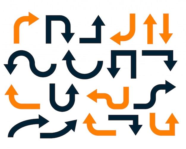 Geometrische orange und schwarze pfeile eingestellt Kostenlosen Vektoren