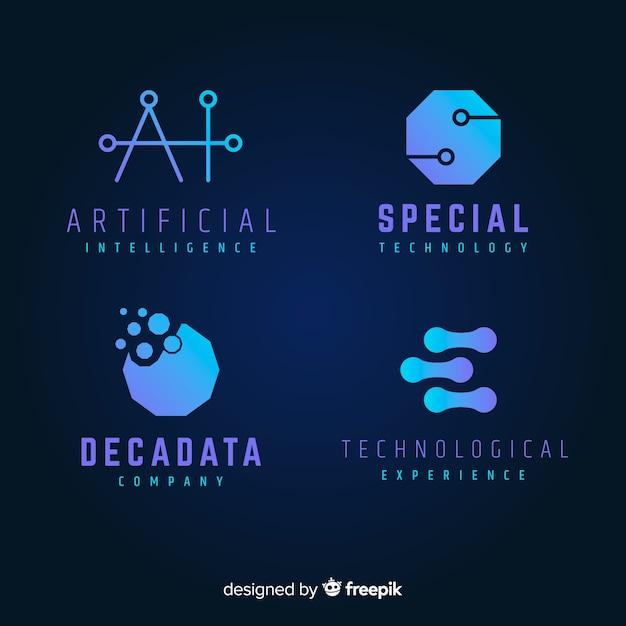 Geometrische technologische logo-sammlung mit farbverlauf Kostenlosen Vektoren