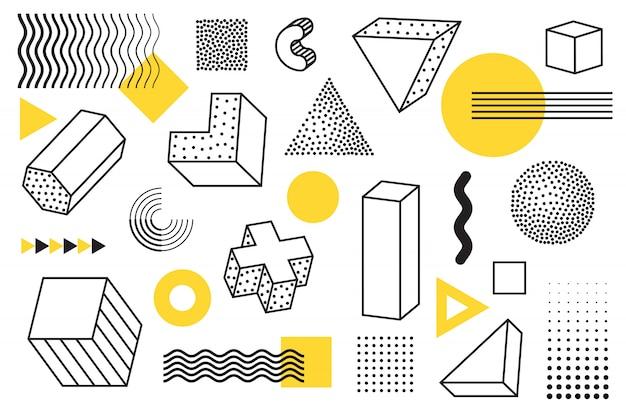 Geometrische und memphis style-elemente Premium Vektoren