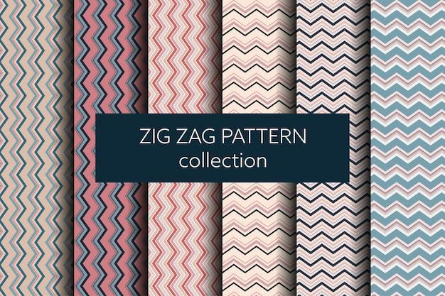 Geometrische zick-zack-mustersammlung Premium Vektoren