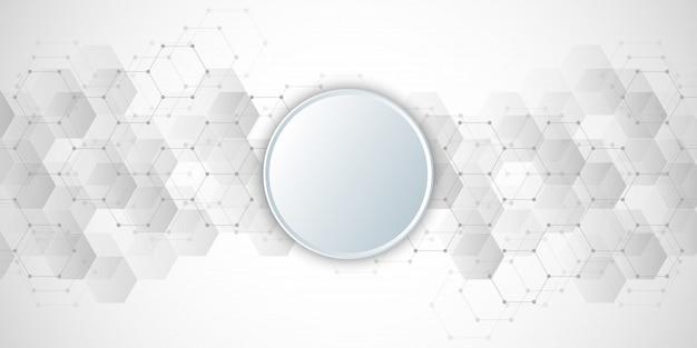 Geometrischer abstrakter hintergrund mit hexagonelementen. Premium Vektoren