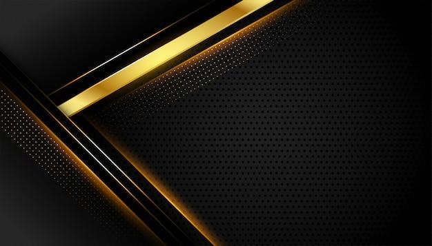 Geometrischer dunkler hintergrund mit goldenen linienformen Kostenlosen Vektoren