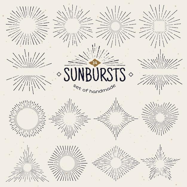 Geometrischer handgezeichneter sunburst, sonnenstrahlen in verschiedenen formen. Premium Vektoren