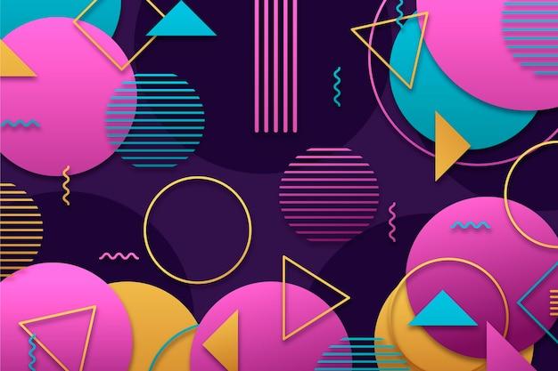 Geometrischer hintergrund mit farbverlauf mit verschiedenen bunten formen Kostenlosen Vektoren