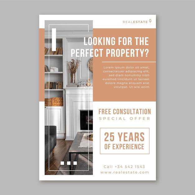 Geometrischer minimalistischer immobilienflyer Kostenlosen Vektoren