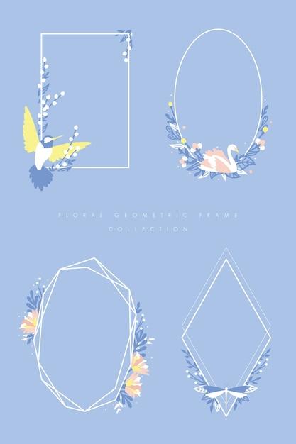 Geometrischer mit Blumenrahmen stellte mit Summenvogel, Schwan und ...