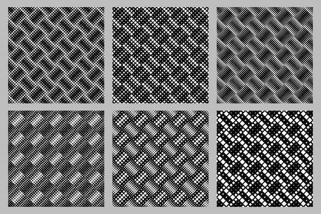 Geometrischer nahtloser gerundeter quadratischer musterhintergrund-designsatz Premium Vektoren