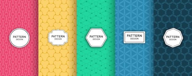 Geometrischer nahtloser musterdesignsatz Premium Vektoren