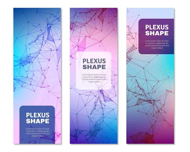 Geometrischer plexus formt vertikale banner Premium Vektoren