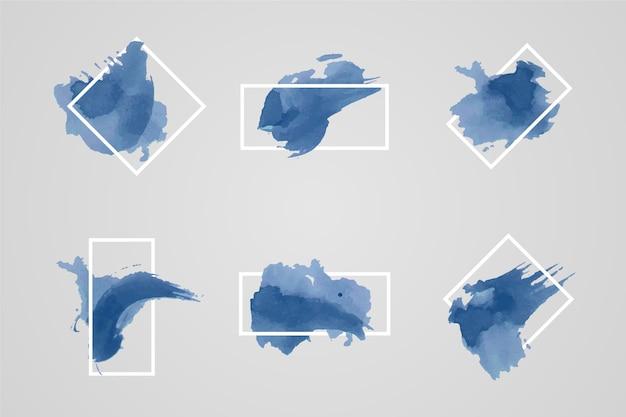 Geometrischer weißer rahmen mit aquarellfleck Kostenlosen Vektoren