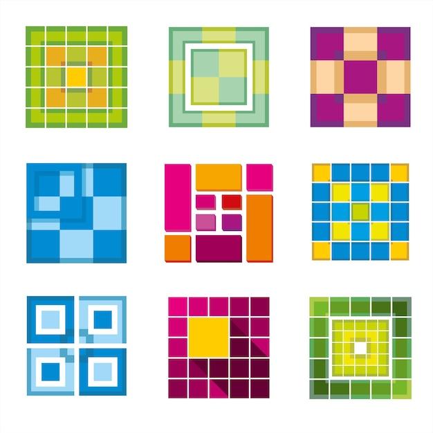 Geometrischer würfel, quadratische formen für logo. quadratisches logo geschäft, logo geometrisch, würfel logo abstrakt, quadratische kubische form. vektorillustration Kostenlosen Vektoren