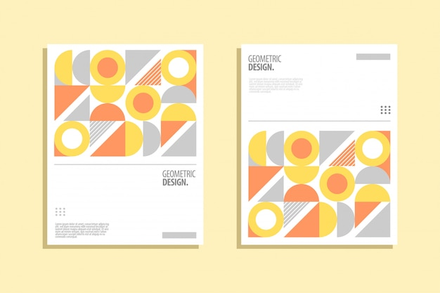Geometrisches cover-design im bauhaus-stil Premium Vektoren