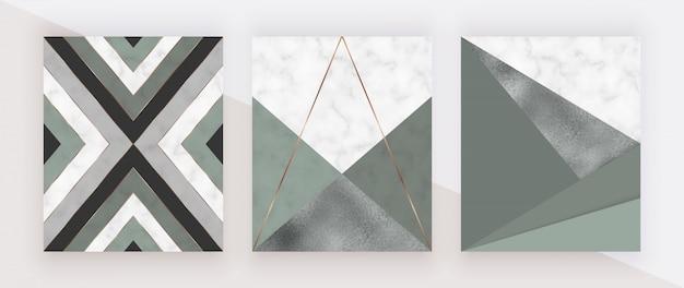 Geometrisches design mit dreieckigen formen aus grün und folie und goldenen linien auf der marmorstruktur. Premium Vektoren