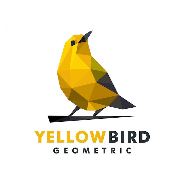 Geometrisches gelbes vogellogo Premium Vektoren