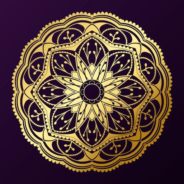 Geometrisches goldmandalamuster auf purpurrotem hintergrund Kostenlosen Vektoren