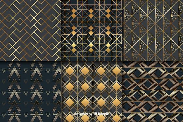Geometrisches luxusmusterpaket Kostenlosen Vektoren