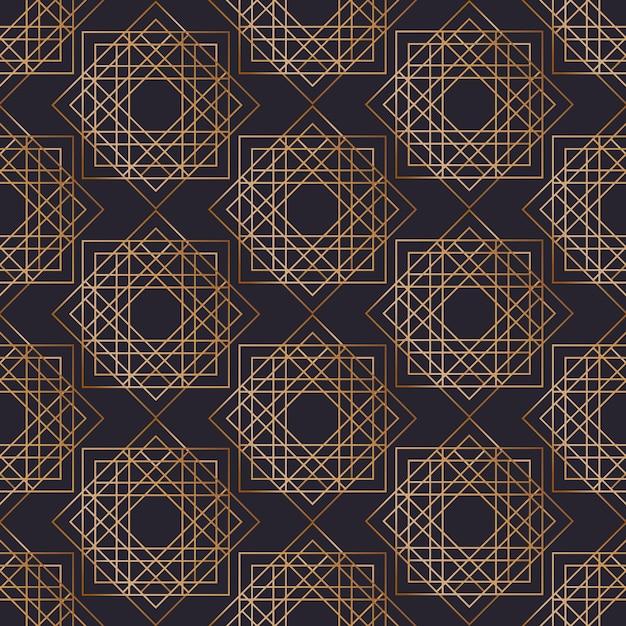Geometrisches nahtloses muster mit quadraten gezeichnet mit goldenen konturlinien auf schwarzem hintergrund. abstrakter hintergrund. illustration im eleganten art-deco-stil für geschenkpapier, textildruck. Premium Vektoren