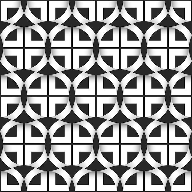 Geometrisches nahtloses muster von schwarzweiss-kreisen Premium Vektoren