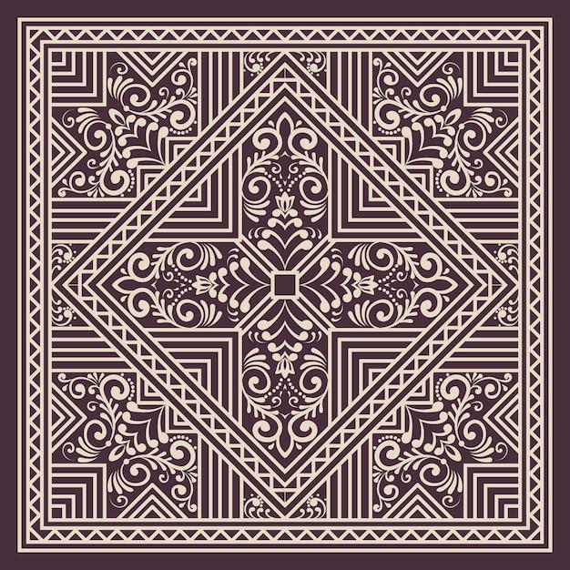 Geometrisches ornamentmusterelement im zentangle-stil. orientieren sie traditionelle verzierung. boho gestylt. elegantes element des abstrakten geometrischen nahtlosen musters für karten und einladungen. Kostenlosen Vektoren
