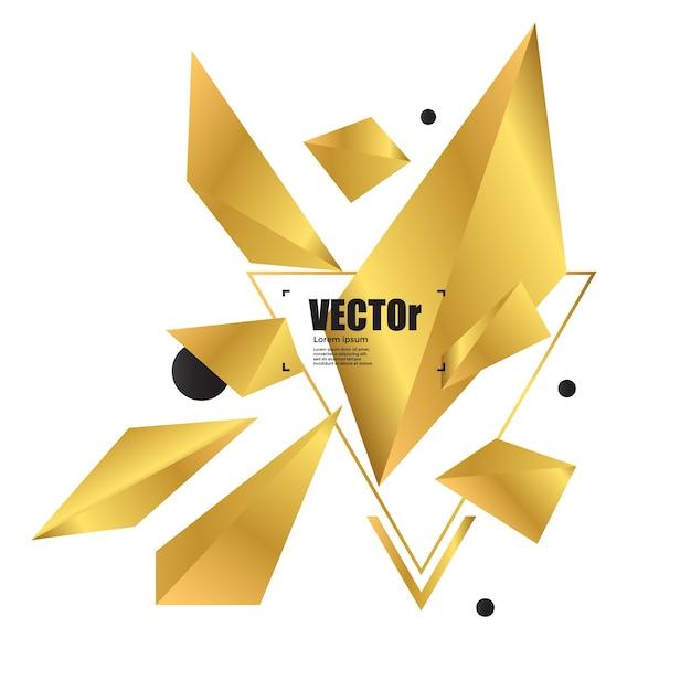 Geometrisches polygondesign des abstrakten hintergrundgoldes. Premium Vektoren