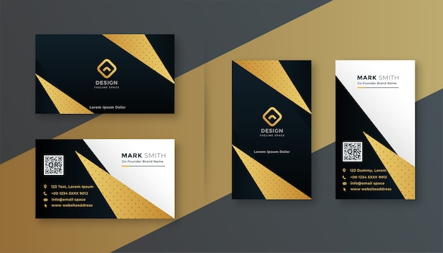 Geometrisches professionelles visitenkarten-design in schwarz und gold Kostenlosen Vektoren