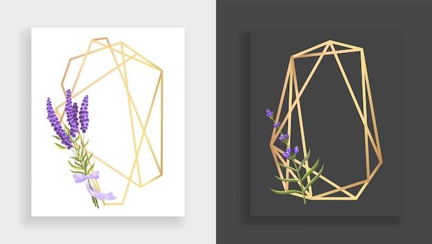 Geometrisches rahmenpolyeder. abstrakter goldener blumenrahmen mit blättern und zweig des flieders. luxus dekorative moderne polygonale geometrische Premium Vektoren