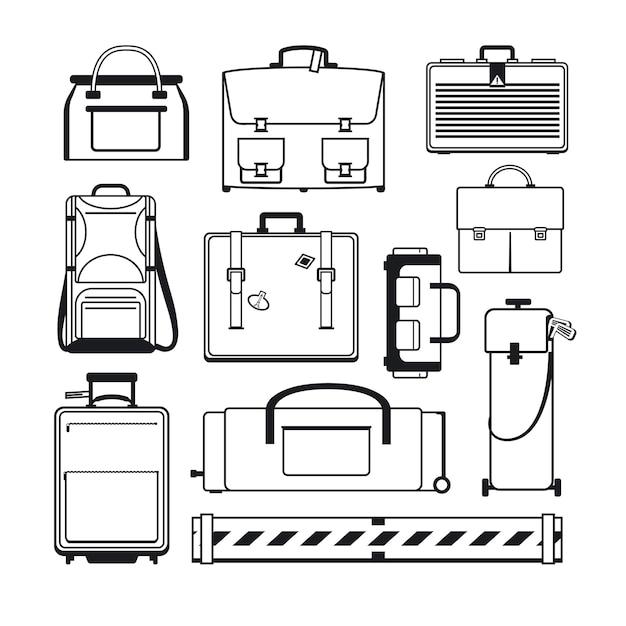 Gepäck eingestellt. taschen und koffer Kostenlosen Vektoren
