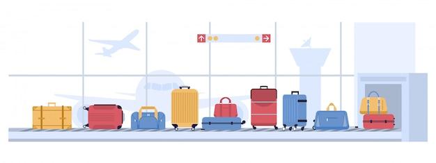 Gepäck flughafen karussell. scannen von gepäckkoffern, gepäckförderband mit taschen und koffern. flugtransportillustration der fluggesellschaft Premium Vektoren