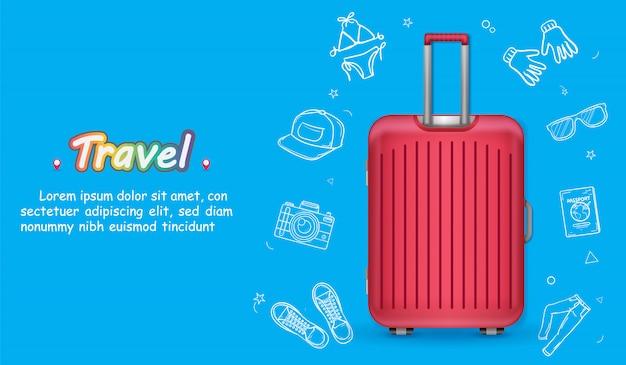 Gepäck und doodle hand draw zubehör reisen um die welt konzept. Premium Vektoren