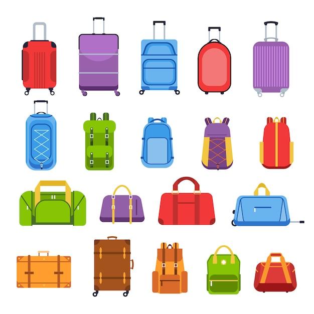 Gepäckkoffer. gepäck- und tragetaschen, rucksäcke, ledertasche, reisekoffer und tasche für reise-, tourismus- und urlaubsikonen. mehrfarbige abbildungen der reiseausrüstung Premium Vektoren