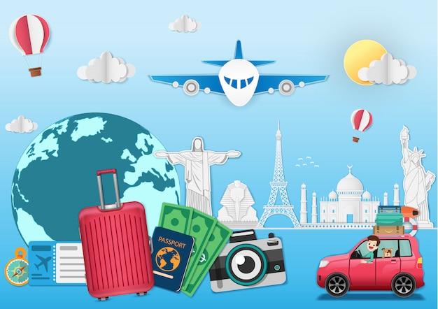 Gepäckreise um die welt konzeptsommerfahne. Premium Vektoren