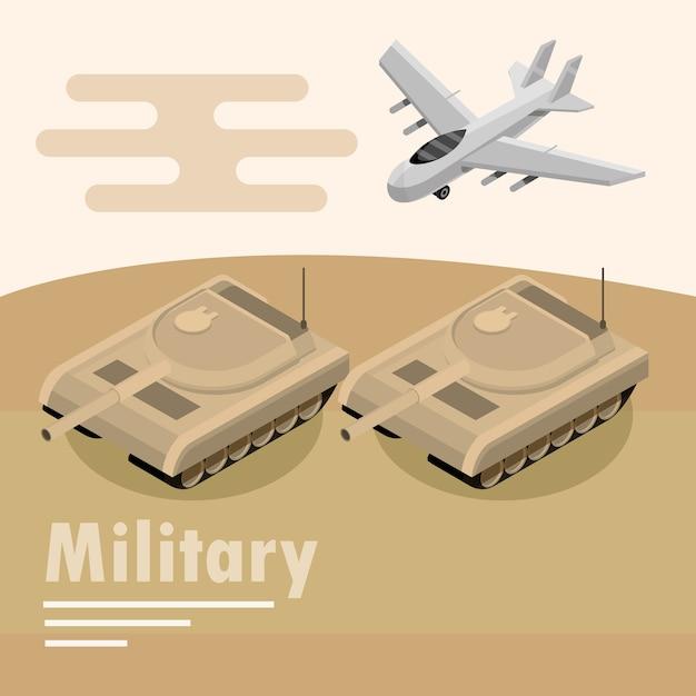 Gepanzerte panzer- und flugzeugillustration des militärtransports Premium Vektoren