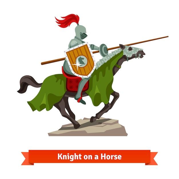 Gepanzerter mittelalterlicher ritter auf einem pferd reiten Kostenlosen Vektoren