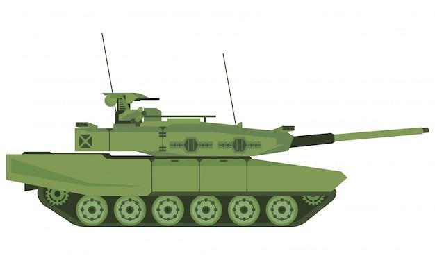 Gepanzerter panzer im schlachtfeld mit weißem hintergrund Premium Vektoren