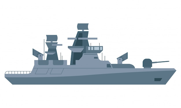 Gepanzertes schiff mit vielen waffen in mittlerer see Premium Vektoren