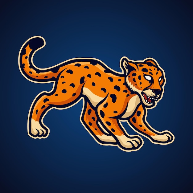 Gepard auf blau Premium Vektoren