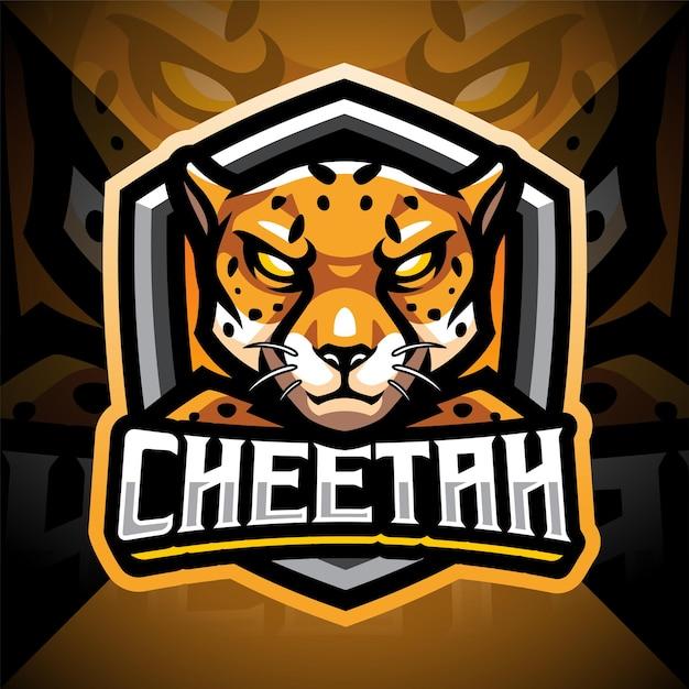 Gepard esport maskottchen logo design Premium Vektoren