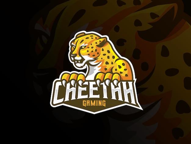 Gepard maskottchen sport logo design Premium Vektoren