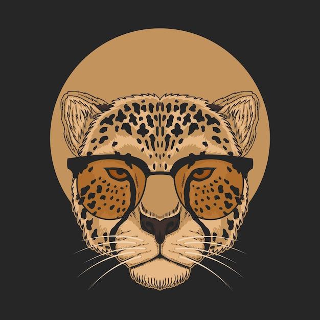 Gepardenbrillenillustration Premium Vektoren