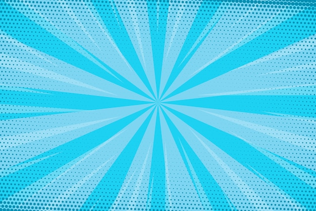 Gepunktete blaue geschwindigkeit comic-stil hintergrund Kostenlosen Vektoren