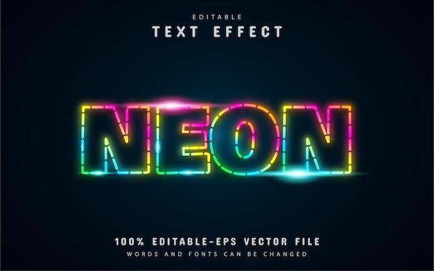 Gepunktete linie, neonfarbener bunter texteffekt Premium Vektoren