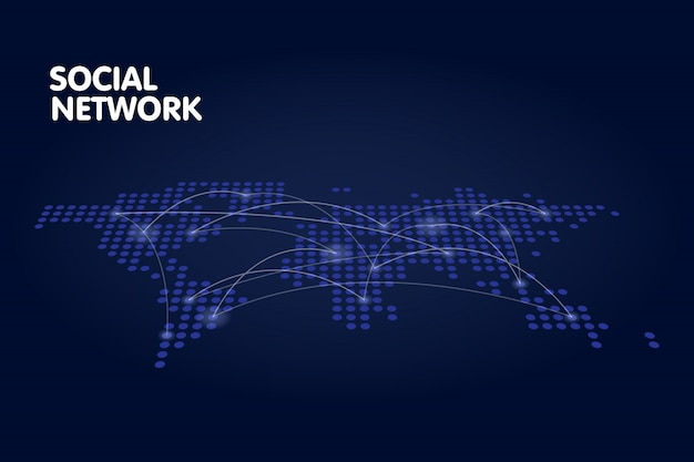 Gepunktetes weltkartennetz-technologiekonzept Premium Vektoren